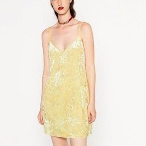YELLOW CRUSHED VELVET BABYDOLL Y2K DRESS